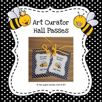Art Curator Job Hall Passes (Bee Theme)