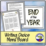 End of the Year ELA Menu Choice Board - Middle Grades End of Year Activity