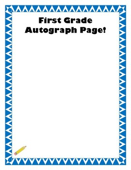 End of the Year Autographs Page Kinder - 6th Grade