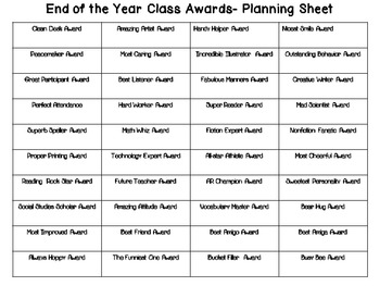 End of the Year Award Buttons (Editable)