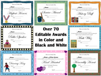 End of the Year Award Certificates (Editable)