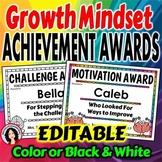 End of the Year Award Certificates featuring Growth Mindset