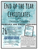 End of the Year Award Certificates for Christian Teachers