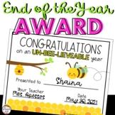 End of the Year Award for Preschool or Kindergarten