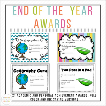 Awards for the end of the School Year