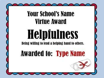 Award Certificates   Printable Awards   Good Character Awards