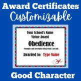 Christian Virtues Awards Editable