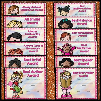 End of the Year Awards Editable (Colored Editable Reward Certificates)