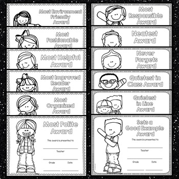 End of the Year Awards Editable (Black and White Editable Reward Certificates)