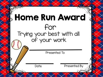 End of the Year Awards Baseball Themed