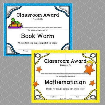 End of School Classroom Award Certificates