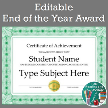 End of the Year Awards - Editable End of Year Awards for Any Subject