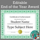 End of the Year Awards - Editable End of Year Awards for A
