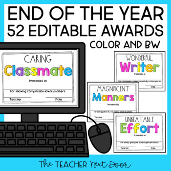 End of the Year Awards: Editable | Student Awards | End of Year Editable Awards
