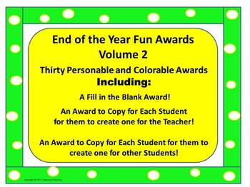End of the Year Awards ( 30 Personable, Colorable, and Fun Awards ) VOLUME 2
