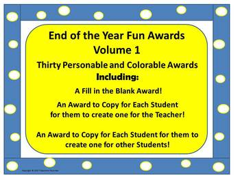 End of the Year Awards ( 30 Personable, Colorable, and Fun Awards! ) VOLUME 1