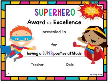End of the Year Awards - Editable (Superhero Themed, Last Day of School)