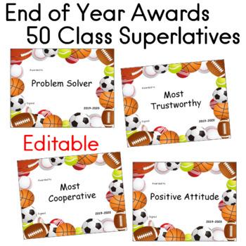 End of Year Awards Class Superlatives 50 SPORTS THEME Editable