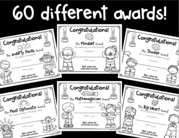 End-of-the-Year Awards! 60 Printer-Friendly Awards! INCLUDES ONE EDITABLE PAGE!