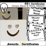 Awards 69 Different Editable Student Certificates Black an