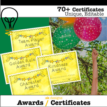 Certificates Awards All Year End of Year 70+ Different Editable Printable Fun