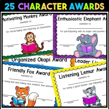 End of the Year Awards | Student Awards | Animal Alliteration