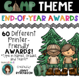 60 Printer-Friendly, Camping Theme End-of-the-Year Awards! *1 Editable Page!*