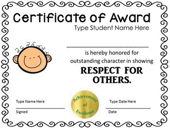 End of the Year Awards - Character {EDITABLE} End of Year Award Certificates