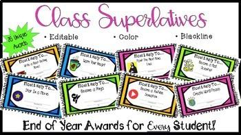 End of the Year Awards- EDITABLE Class Superlative Award Certificates