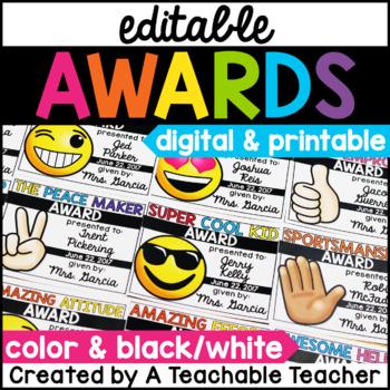 End of the Year Awards - EDITABLE Emoji Awards
