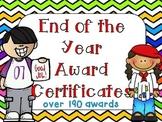 End of the Year Awards- Editable Chevron Rainbow