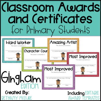 EDITABLE Awards and Certificates | Classroom Awards - Gingham