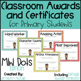 End of the Year Awards Editable Classroom Award Certificates - Mini Polka Dots