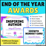 End of the Year Awards Editable Printable and Digital in G