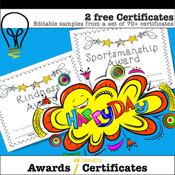 Free End of the Year Awards - Editable Student Certificates