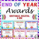 End of the Year Awards Editable  for Distance Learning - G