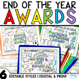 End of the Year Awards Distance Learning   Editable Superlative Awards