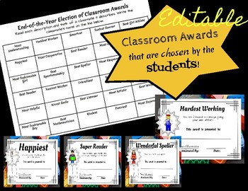 End of the Year Awards:Building Block Theme (Editable)