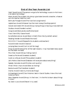 End of the Year Awards List