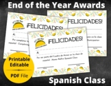 End of the Year Awards   PDF Printable Certificates   Spanish Class