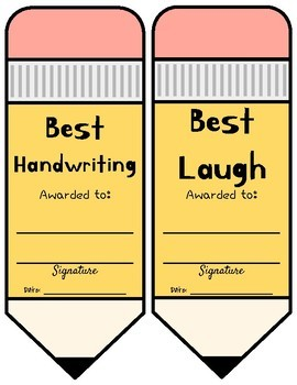 End of the Year Awards! Pennants and Pencils | Color & B&W Options!