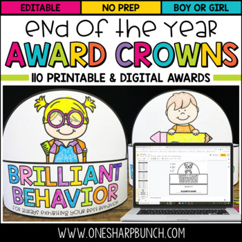 Distance Learning - End of the Year Awards - Printable & Digital Crowns
