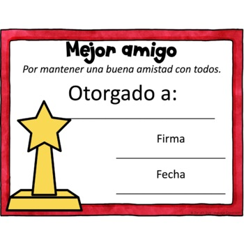 End of the Year Awards Spanish - Certificados de Fin de Año