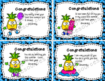 End of the Year Awards: Summer School Certificates and Notecards Pineapple Theme