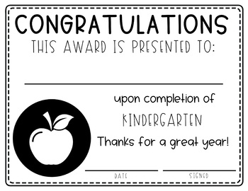 End of the Year Award Certificate for   Preschool - 5th Grade