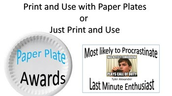 End of the Year Awards/Paper Plate for Middle/High Schools with Memes (Editable)