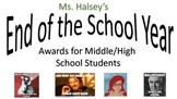 End of the Year Awards/Paper Plate for Middle/High Schools