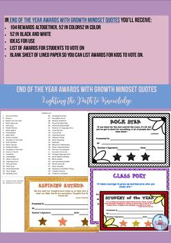 End of the Year Awards with Growth Mindset Quotes (Grades 6,7,8)