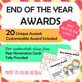 End of Year Award Certificates w/ Peer Voting System – Customizable, Color & BW