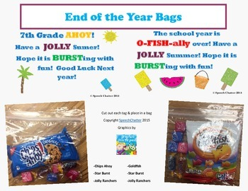 End of the Year Bag Tags!